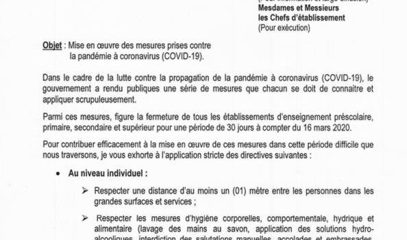 Pandémie du Coronavirus / Mise en Oeuvre des mesures prises.