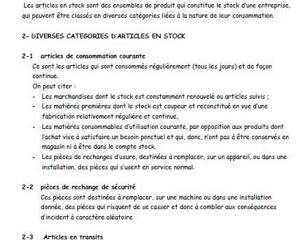 DIVERSES-CATEGORIES-D'ARTICLES-EN-STOCK-1ère-année-BT-Gestion-de-Production