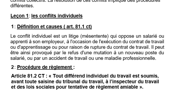 Cours de Législation Conflits Individuel et Conflits Collectifs 3ème année CAP