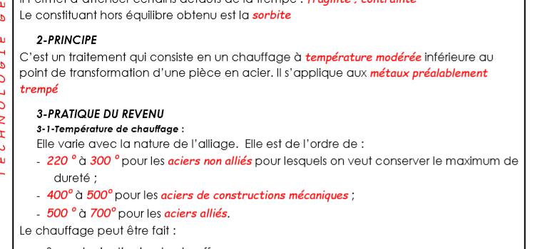 Cours Métalurgie Le revenu 3 ème année BT Maintenance mécanique