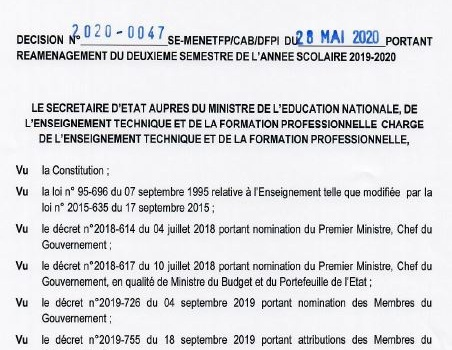 DECISION N°2020-0047PORTANT REAMENAGEMENT DU 2EME SEMESTRE 2019-2020