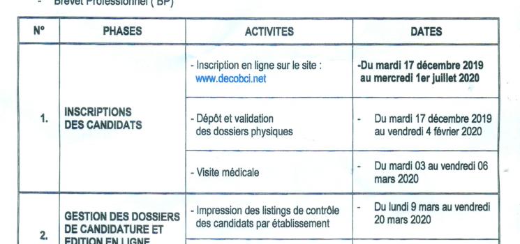 Calendrier des Examens d 'Admissibilité 2020